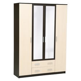 Шкаф Аура 4-х створчатый с ящиками, 2220х1600х500, Венге/Дуб молочный