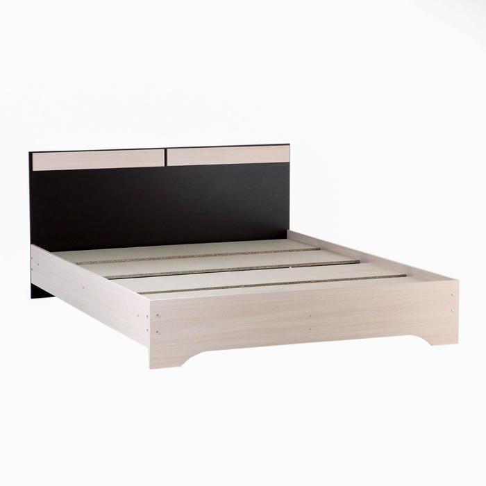 Кровать двуспальная Аура с основанием, 850х1640х2040, Венге/Дуб молочный