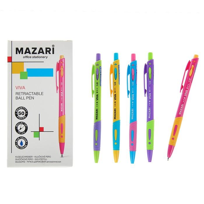 Ручка шариковая автоматическая Mazari Viva, 1.0 мм, резиновый упор, синяя, корпус МИКС *