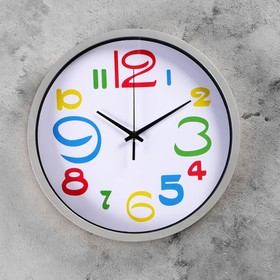 """Часы настенные круглые """"Цветные цифры"""", d=29 см, циферблат белый, рама хром"""