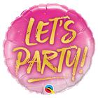 """Шар фольгированный 18"""" """"Вечеринка"""", Lets Party на розовом"""