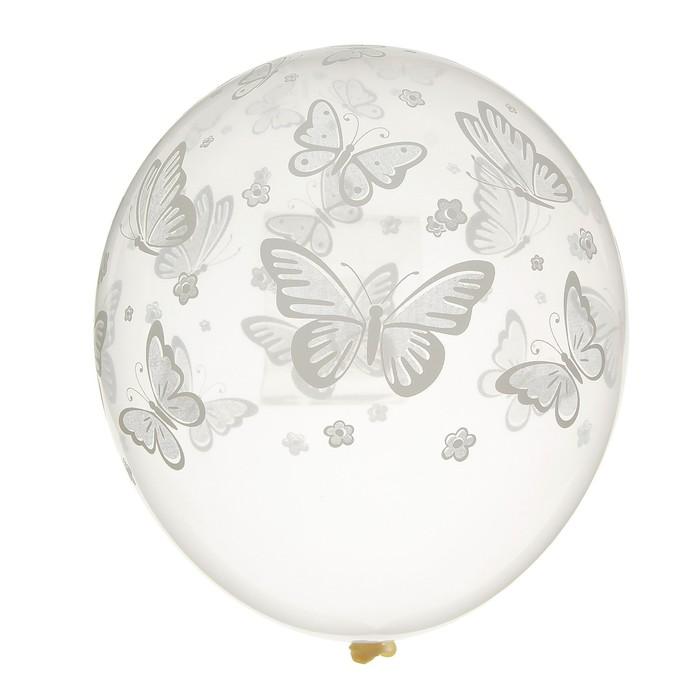 "Шар латексный 14"" «Бабочки», набор 25 шт., прозрачный - фото 459700"