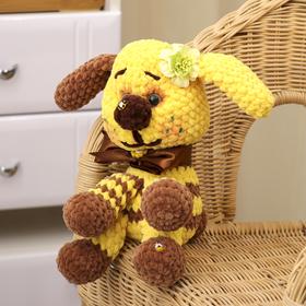 Сувенир вязаный 'Собака желтая с коричневым' желтый бант, 20 см Ош