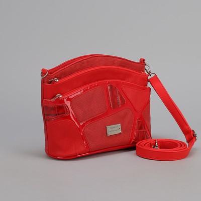 Сумка женская, отдел с перегородкой, 3 наружных кармана, длинный ремень, красный