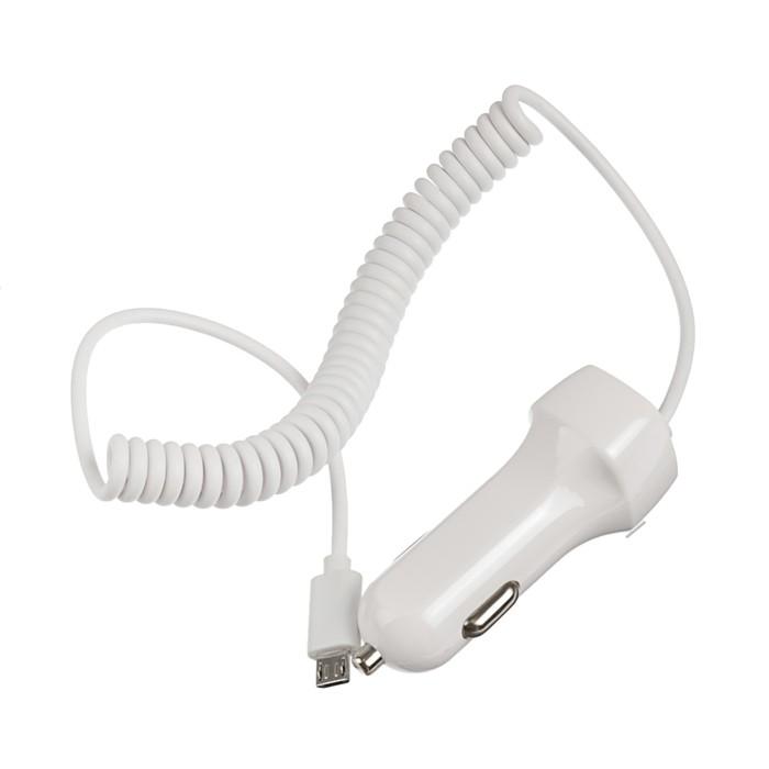 Автомобильное зарядное устройство Jet.A, USB, 2.1 A, micro USB, пружина, 1 м, белое