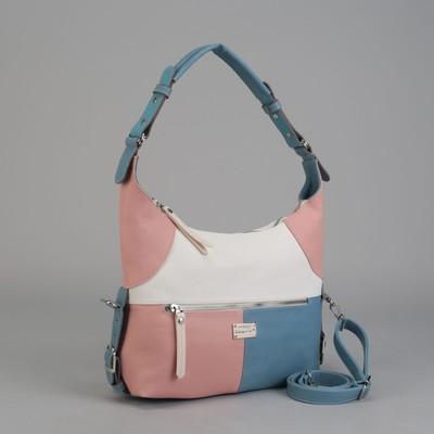 Сумка женская, отдел на молнии, 2 наружных кармана, длинный ремень, цвет белый/розовый/голубой