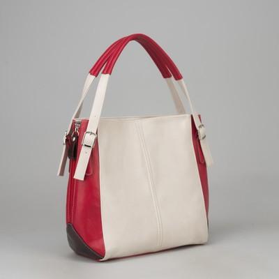 Сумка женская, отдел на молнии, с расширением, наружный карман, цвет красный