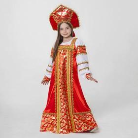 """Русский народный костюм """"Любавушка"""", платье-сарафан, кокошник, р-р 28, рост 98-104 см, цвет красный"""