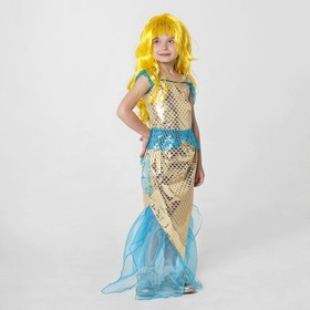 """Carnival costume of the """"Golden mermaid"""", top, skirt, wig, R-R 32, height 122 - 128 cm"""