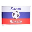 Флаг России с футбольным мячом, 90х150 см, Казань, триколор, полиэстер
