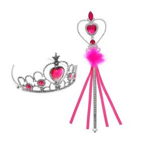 Карнавальный набор 'Принцесса' 2 предмета: корона, жезл с камнями, цвет розовый Ош