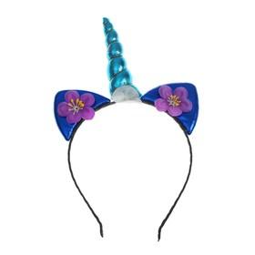 Карнавальный ободок «Единорог», с цветочками, цвет синий