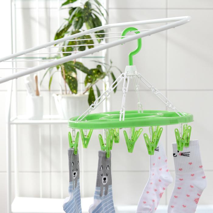 Сушилка для белья подвесная овальная 12 прищепок, цвет МИКС