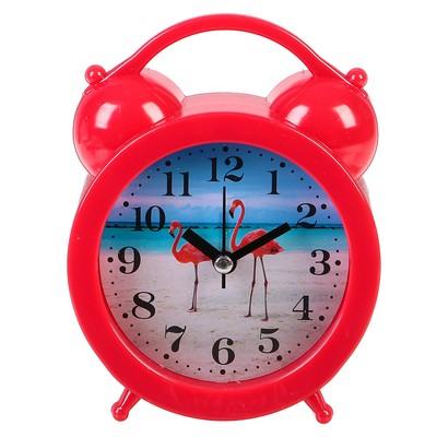 "Часы настольные ""Фламинго"", круг d=8.5 см, 14х11 см микс"