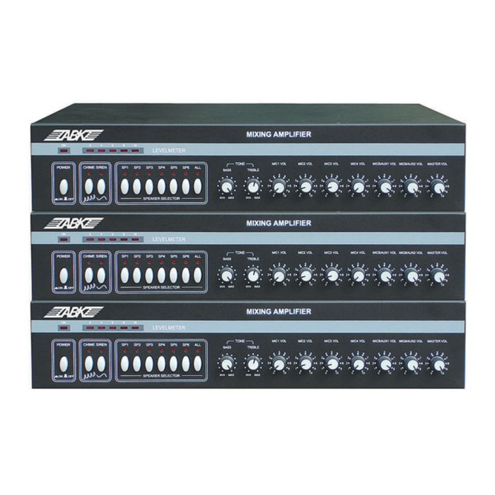 Микшер-усилитель ABK PA-3212 вход: 5 микрофонных, 2AUX, 70/100В, 120Вт