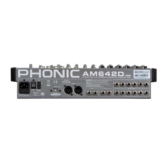 Микшерный пульт Phonic AM642D USB , 6 моно мик/лин вход + 4 стереовхода, 2 подгруппы