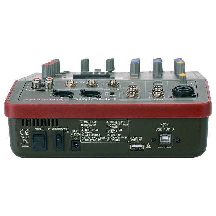 Микшер Phonic CELEUS Tube 5-ти канальный, USB плеер/рекордер, USB аудиоинтерфейс, BT
