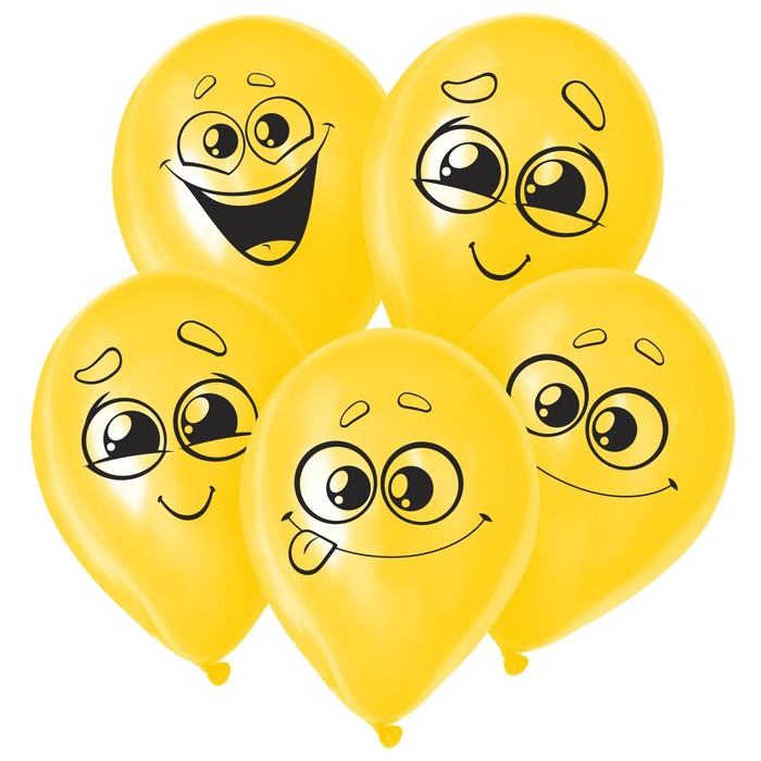 "Balloon 12"" ""Smile face"", 1-sided, set of 50 PCs, MIX"