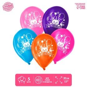 "Balloon 12"" ""birthday,"" kitty, 1-sided, set of 5 PCs, MIX"