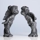 "Статуэтки ""Целующиеся ангелы"" серебро (комплект) 24х15см"