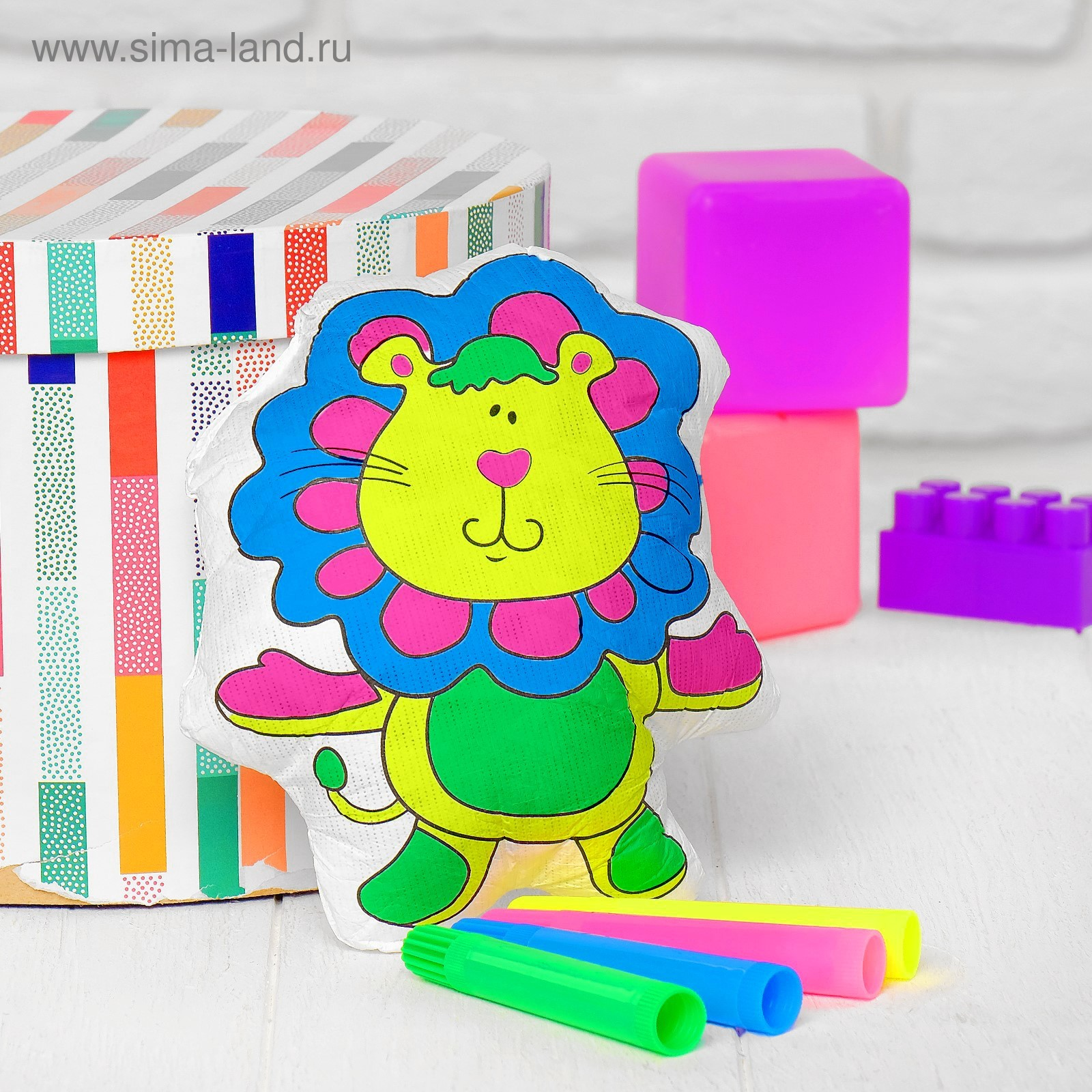 игрушка раскраска львенок маркеры 4 цвета смываются водой