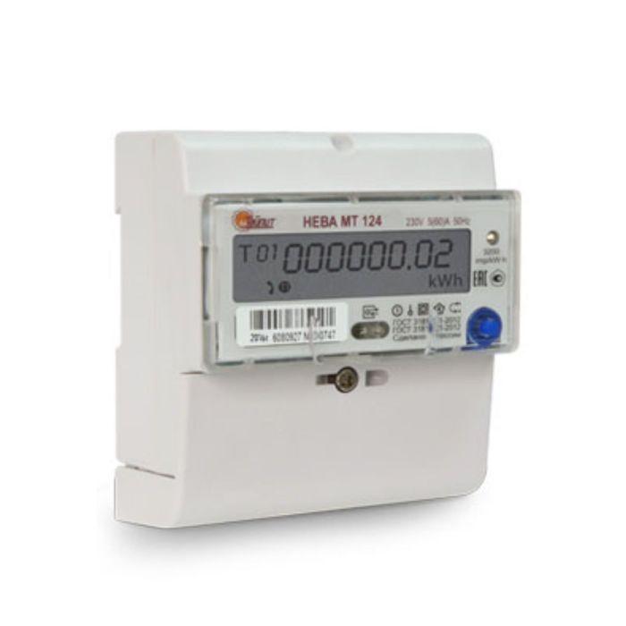 Счетчик НЕВА МТ 124 AS E4P, 1ф, 5-60 А, многотарифный, для юр. лиц, GMT +5