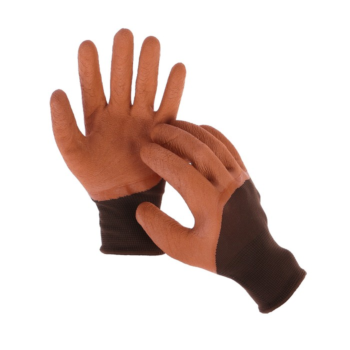 Перчатки нейлоновые, с покрытием из вспененного латекса, размер 9, МИКС