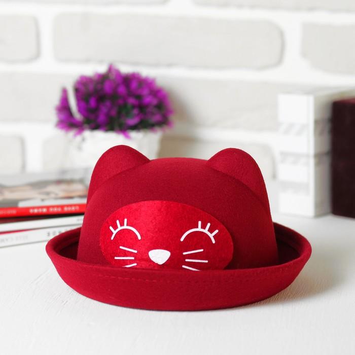 Шляпа детская с ушками «Котик», р-р 52 см
