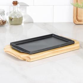 """Сковорода 27х14,5 см """"Прямоугольник"""", на деревянной подставке"""