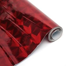 Пленка самоклеящаяся, голография, красная, 0.45 х 3 м, 3 мкм, «Квадраты»