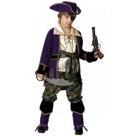 Карнавальный костюм «Капитан пиратов», (бархат и парча), размер 36, рост 146 см, цвет лиловый
