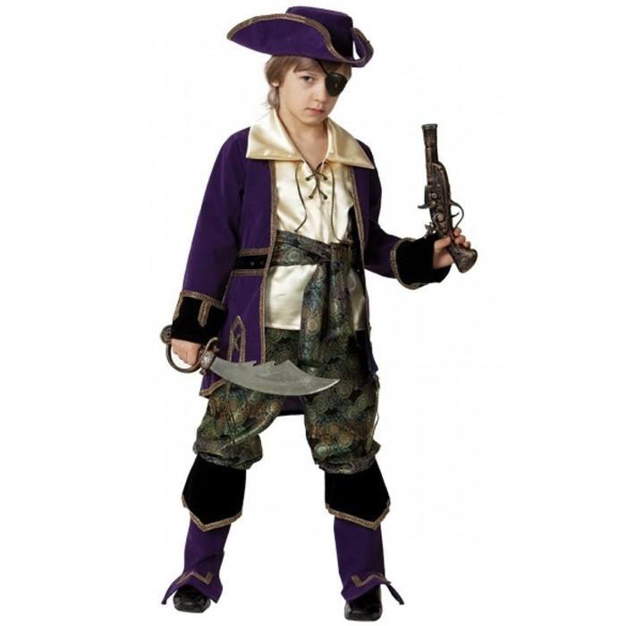 Карнавальный костюм «Капитан пиратов», (бархат и парча), размер 36, рост 146 см, цвет лиловый - фото 105520330