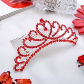 Диадема для волос 'Дива' 11,5 см красная узоры Ош