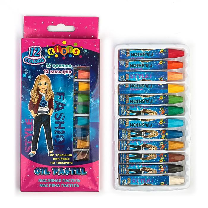 Пастель масляная, 12 цветов, в бумажном держателе, в картонной коробке, SUPER MODEL (девушки)