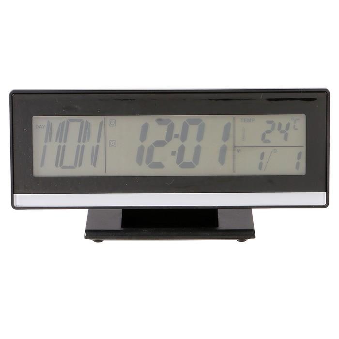 Часы-будильник электронные, с подсветкой на звук, с термометром, черные, 18.5х9.5 см