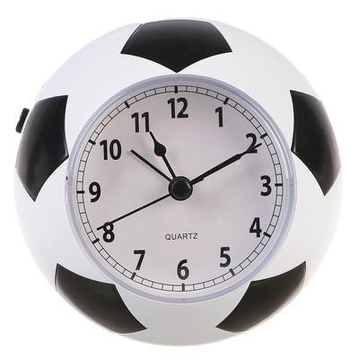 """Будильник """"Футбольный мяч"""", черно-белый, 9.5х10.5х10.5 см"""