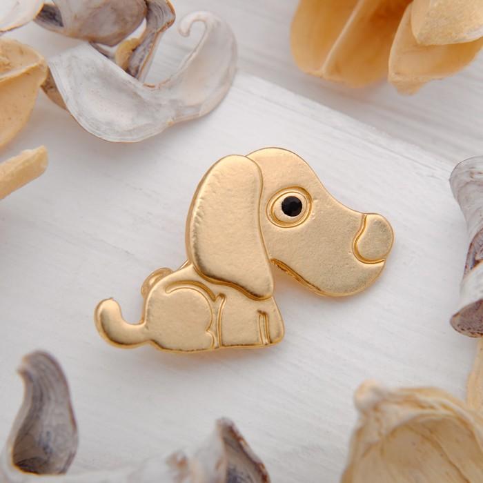 """Брошь """"Собака"""" Спаниель, цвет золото"""