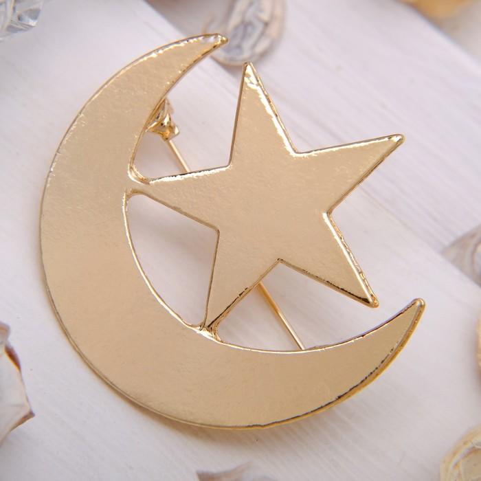 """Брошь """"Месяц со звездой"""", цвет золото"""