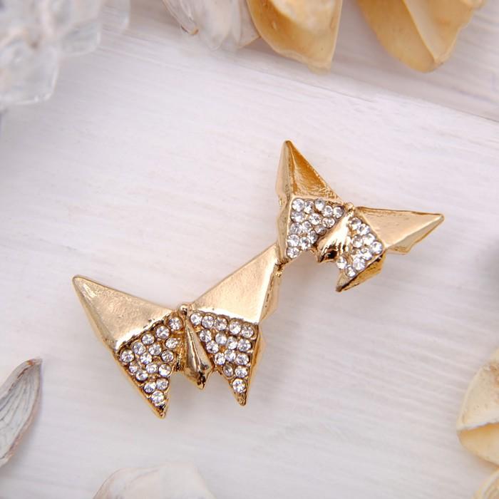"""Брошь """"Бабочки в паре"""", цвет белый в золоте"""