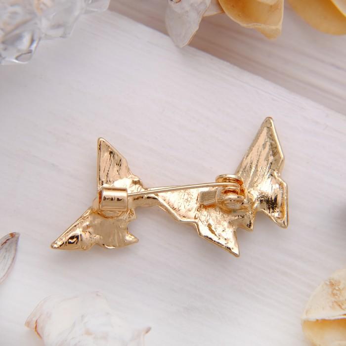 """Брошь """"Бабочки в паре"""", цвет белый в золоте - фото 304248929"""