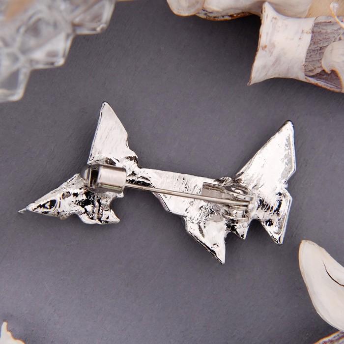 """Брошь """"Бабочки в паре"""", цвет белый в серебре - фото 435662970"""