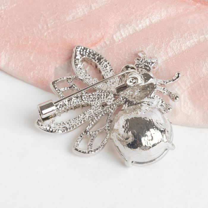 """Брошь """"Муха сверкающая"""", цвет белый в серебре - фото 448776065"""