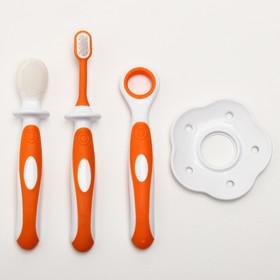 Зубная щётка детская, набор 3 шт. с ограничителем: силиконовая, с мягкой щетиной, для языка, от 3 мес., цвет оранжевый