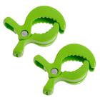 Клипса-держатель для коляски, набор 2 шт., цвет зелёный