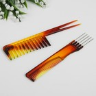 Набор расчёсок, 2 предмета, цвет янтарный