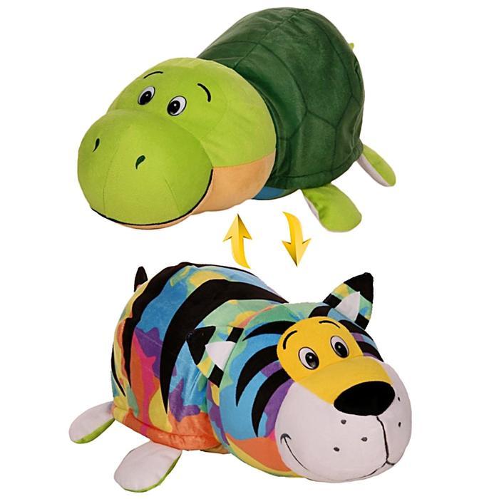 Мягкая игрушка-вывернушка 2 в 1 «Радужный тигр, черепаха», 40 см