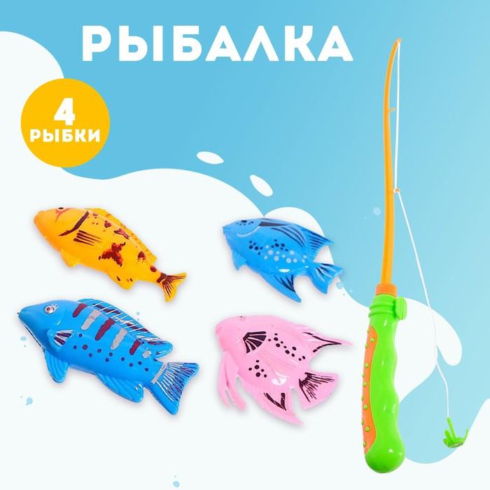 Рыбалка «Морская волна», 4 рыбки, удочка МИКС - фото 106526348