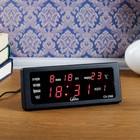 Часы  настольные электронные, с термометроми календарём, красные, 10.5х22 см