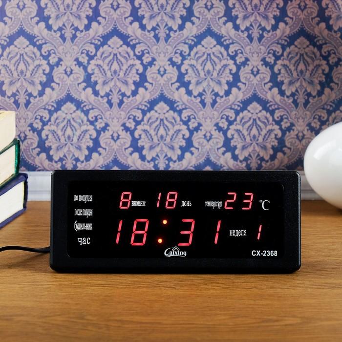 Часы  настольные электронные, с термометром, календарём, красные, 10.5х22 см