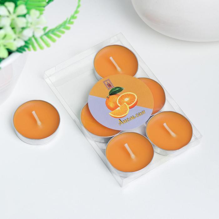 Свечи восковые в гильзе (набор 6 шт), аромат апельсин